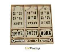 55 Wooden Shapes Home Sweet Home Keys Hearts Houses Craft Embellishments