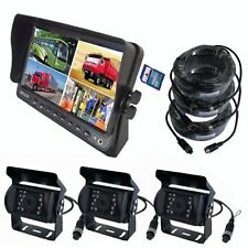 "A77 7"" QUAD MONITOR BUILT-IN DVR CAR REAR VIEW CAMERA KIT FOR TRUCK TRAILER RV"