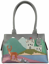 50% OFF CICCIA CAT SCATTISH HIGHLANDS GREY LEATHER SHOULDER BAG RRP £130