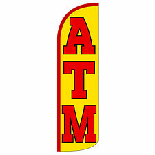 ATM Red Windless Advertising Sign Feather Flag Only Banner 30% Wider