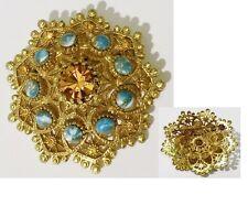 broche bijou vintage couleur or cabochon turquoise cristal signé SPHINX * 1872