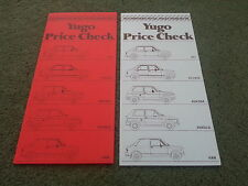 July 1986 & Jan 1987 ZASTAVA Yugo UK 2 x PRICE LIST BROCHURE 311 511 513 45 55