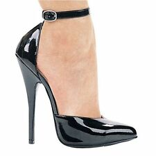 "6"" fetish high heel pump 11 women 9 mens 41 eur black classic sexy w ankle strap"