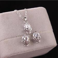 Gothic Day Of The Dead Jewellery Set Skull Stud Earring Necklace Crystal Heart