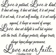 XL 1 Corinthians 13:4-8 V2 Large Size, Bible Verse Wall Decal, Love, Patient