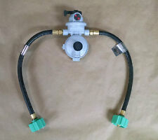 "Fairview RV Camper LP / Propane 2 Stage Auto Gas Regulator 15"" QCC Acme Pigtails"