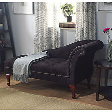 Black Microfiber Storage Chaise Lounge Chair Sofa and Loveseat Love Seat