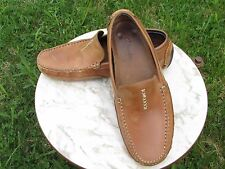 CLARKS England Men's Tan Leather Driving Moc Loafers, Made in Brazil, size 10