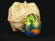 Indonesian Hand Painted Egg Bali Folk Art In Straw Basket w/Lid Sunset Beach
