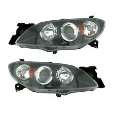 04-09 Mazda 3 Sedan Headlight Unit Driver Passenger Side Pair