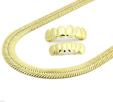 "Mens 14K Gold Plated 9mm Flat 30"" Herringbone Necklace Chain And Set Of Grillz"