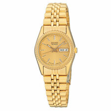 Ladies Seiko Classic Gold Tone Stainless Steel Gold Dial Watch Day Date SWZ058