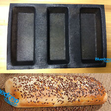 Silicone Fiberglass 3 Loaf French Bread Mould Non Stick Baguette Tray Baking Pan