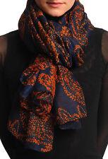Rouille de feuilles de fougère sur foulard bleu foncé unisexe et Plage Sarong (sf001393)