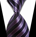 New Classic Purple Stripe Elegant Jacquard Woven Silk Man's Suits Tie Necktie