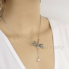 Silver Dragonfly Pendant Necklace Long Tessel Pendant Sweater Necklace Jewelry