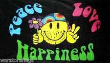 PEACE LOVE HAPPINESS FLAG smiley 5x3 hippy festival fun