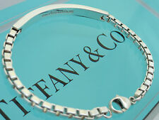 "Tiffany & Co. Sterling Silver 6 3/4"" Venetian Link ID Bracelet in Pouch and Box"