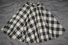 True Vintage 1950s Quilted Circle Skirt Rockabilly Black & White Plaid