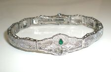 Antique 1920s Diamonds & Emerald White Gold Filigree Bracelet Art Deco, Made USA