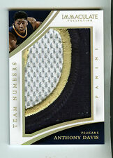 ANTHONY DAVIS 2014-15 PANINI IMMACULATE TEAM NUMBERS GAME USED 3 COLOR PATCH /20
