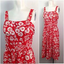 New listing Vintage 1980s Bright Red & White Floral Print Sleeveless Summer Dress M