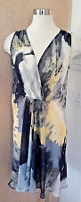 Simply Vera Vera Wang Beautiful Sleeveless Yellow Grey Sheer Dress/Cover Up M