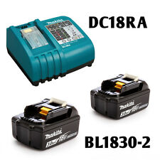 Makita DC18RA Lithium Ion Battery Charger and 2 BL1830 Batteries Combo Set  NEW