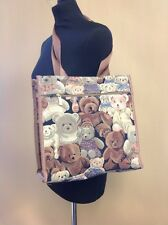 Tapestry Teddy Bear Shopping Bag 12x12 Inches VGC
