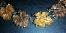 Beautiful Vintage Lisner Poured Frosted Lucite Thermoset Oak Leaf Necklace
