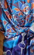 """Hermes Carre Geant Twill Plume Folklore-Turquoise/Marine/Caramel-NWT-140cm/55"""""""