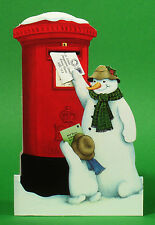 36 Pillar Box Christmas Cards with a Detachable Miniature Envelope Being Posted