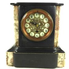 ANTIQUE FRENCH SLATE & MARBLE MANTLE CLOCK 8 DAY BRASS MOVEMENT