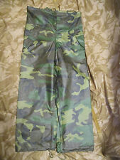 NEW US ARMY/USSF BDU/WOODLAND CAMO WET WEATHER WATERPROOF TROUSERS. SMALL. ORC.