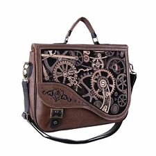 Restyle Steampunk Mechanism Embroidered Brown Faux Leather Satchel Hand Bag