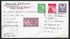 United States covers 1944 cens Special Delivery AIRMAILcover APO to Glen Ridge