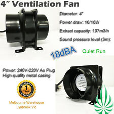 "4""  EXHAUST VENTILATION FAN METAL BLOWER SILENT HYDROPONIC GROW TENT EXTRACTOR"