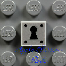 NEW Lego Minifig KEY HOLE LOCK 1x1 GRAY TILE Castle Door Treasure Chest Padlock