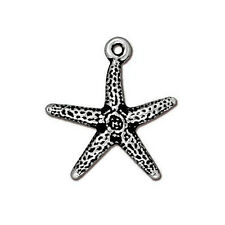 STAR FISH CHARM ANTIQUED SILVER PEWTER 2 STARFISH CHARMS