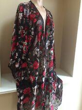 Re:named Nameless New nwt Black & Red Velvet Floral Kimono Top sz Small SRP $120