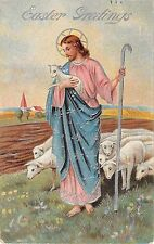 1909 Easter PC of Jesus As a Shepherd Carrying Lamb With Flock of Sheep