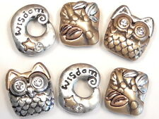 "6 - 2 HOLE PETITE SLIDER BEADS MIXED METAL CRYSTAL OWL, TREE BRANCH & ""WISDOM"""