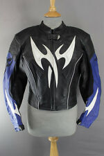HEIN GERICKE PRO SPORTS BLACK, BLUE & WHITE LEATHER BIKER JCKT+CE ARMOUR SIZE 12