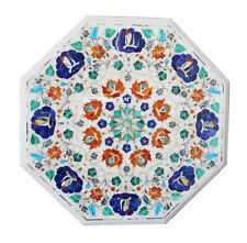 """18"""" Marble Coffee Corner Table Marquetry Multi Inlay Living Room Decor H2556"""