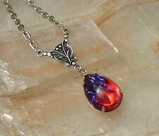 Mexican Fire Glass Opal Antique Silver Victorian Butterfly Pendant Necklace