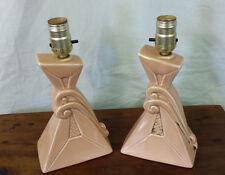 Vintage Lamps Pair Deco Nouveau  Salmon Color Lamps