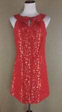 Bb Dakota Red Gold Shift Dress Retro Mod Metallic Keyhole M Polka Dot Bubble