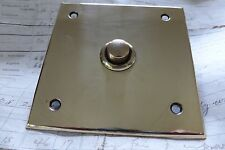 Vintage Square Brass Electric Door Bell Push Flush (Reclaimed restored antique)