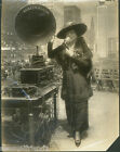 Old New York City photo Woman public speaking with New Public adress system 1916
