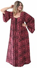 PLUS SIZE 3X 4X 5X BOHO BOHEMIAN HIPPY LONG SLEEVE CORAL TIE FRONT DRESS